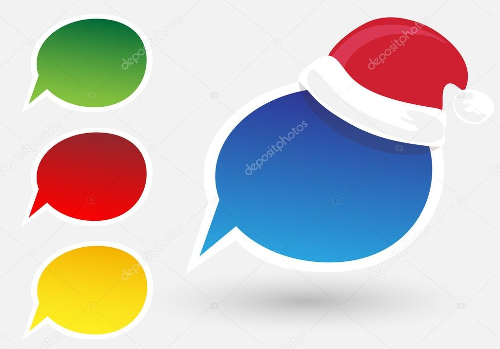 Paper Speech Bubble with Santa Claus hat, Vector Illustration   Stock Vector #17176859