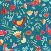 Flower, hearts, birds seamless — Stock Vector
