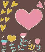 Carte de voeux avec coeur — Vecteur