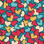 Seamless mönster av röda hjärtan. — Stockvektor