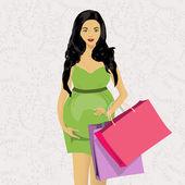 Pregnant woman shopping — Cтоковый вектор