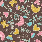 Blomma, hjärtan, fåglar sömlösa — Stockvektor
