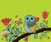 Card flower, owl — Stock Vector
