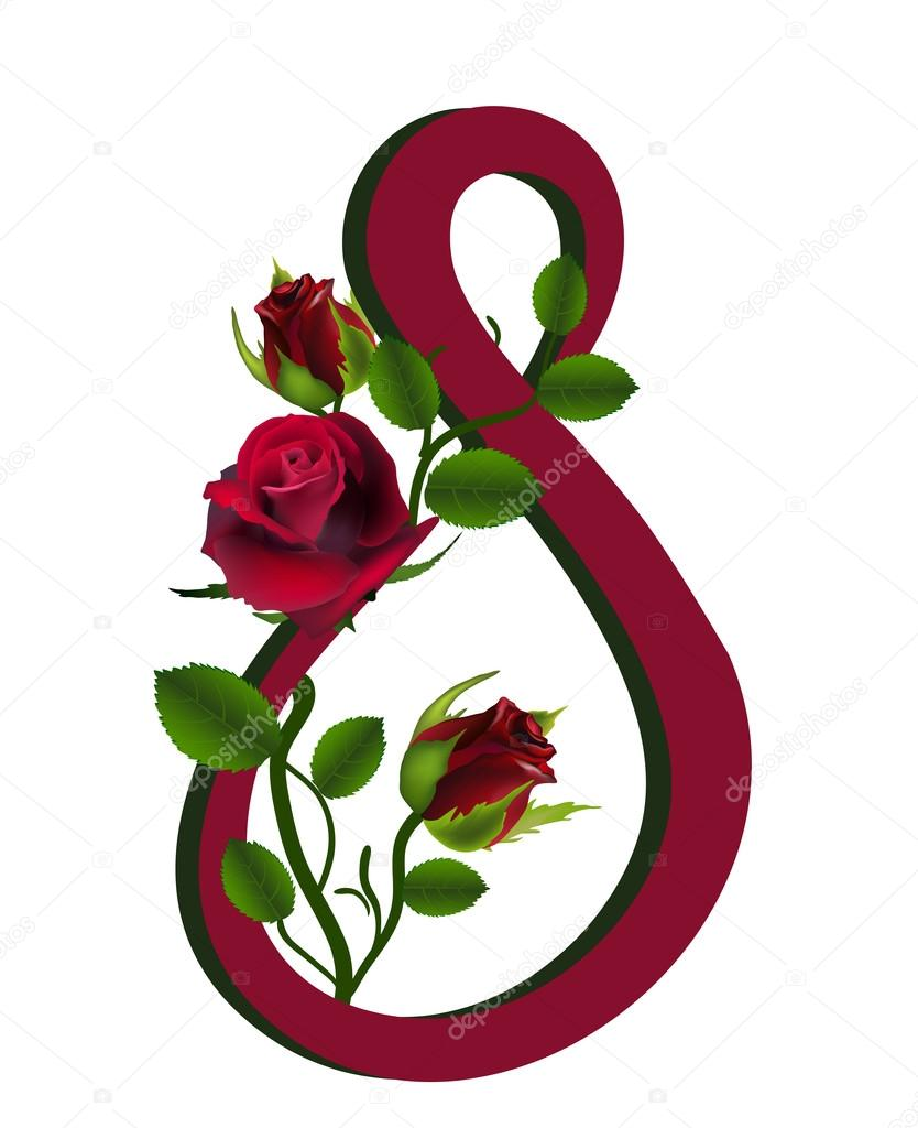 Card for March 8, three dark red roses isolated on white   Stockvectorbeeld #20301975
