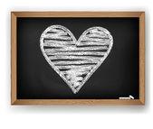 Vector afbeelding. hart getekend in wit krijt — Stockvector