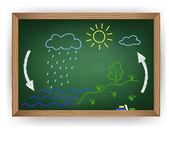 Krijt tekening op een schoolbord watercyclus — Stockvector