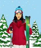 Female skier — Stockvektor