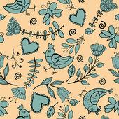 Flor, corações, pássaros sem emenda — Vetorial Stock