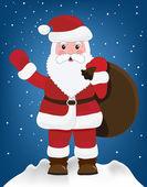Santa Claus on sky background — Stock Vector