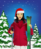 Woman with ski and santa hat — Stock Vector