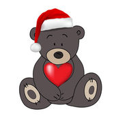 Bear in Santa Claus hat holding a heart, vector — Stock Vector