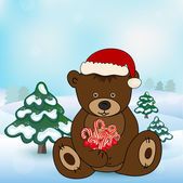 Bear in Santa Claus holding a box present — Vettoriale Stock