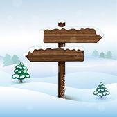 Vector bilboard in winter forest — Stock Vector
