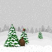 Winter forest in vector — Stockvector