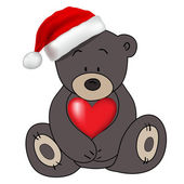 Bear in Santa Claus hat holding a heart, vector — 图库矢量图片