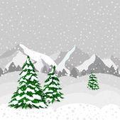 Winter forest in vector — Stock Vector