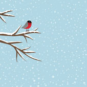 Bird sitting on branch in winter, vector — Stock Vector