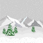 Winter landscape, mountain and forest in vector — ストックベクタ