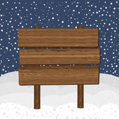 Wood sign in winter background — Vetorial Stock