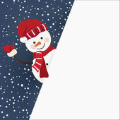 Snowman holding for a banner in vector — Stock Vector
