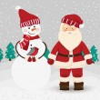 Santa Claus and snowman in vector — Stok Vektör
