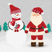 Santa Claus and snowman in vector — Vecteur