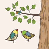 Birds and tree — Stockvector