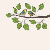 Birds sit on tree — Vector de stock