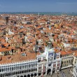 View to famous clocktower from campanille at San Marco place in Venice — Stock Photo