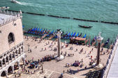 View to Doge s Palace and columns from campanille at San Marco place in Venice — Stock Photo