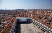 View to Procuraties and Piazza from campanille at San Marco place in Venice — Stock Photo