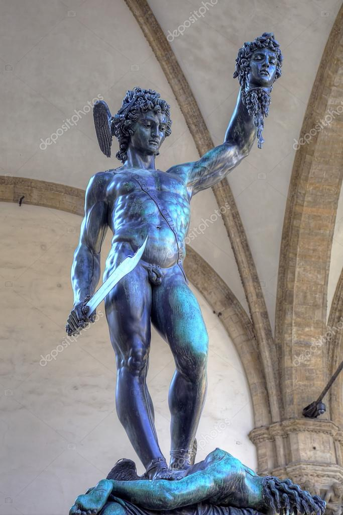 Statue of Perseus slaying Medusa - Loggia del Lanzi (Piazza della Signoria, Firenze, Italia)  Stock Photo #13712851