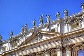 Statues on Saint Peters Basilica. Roma (Rome), Italy — Foto de Stock