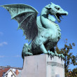 Statue at Zmajski most (Dragon bridge). Ljubljana, Slovenia — Stock Photo