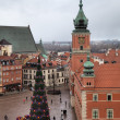 Top view of Old Town Square with New Year tree near Royal Castle. Warsaw, Poland — Stock Photo #18684375