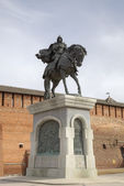 Monument of Dmitry Donskoy near walls of Kolomna Kremlin. Russia — Stock Photo