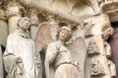 Smiling angel. Notre-Dame de Reims Cathedral. Reims, France — Stock Photo