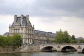 Seine quay and The Louvre Museum. Paris, France — Stock Photo