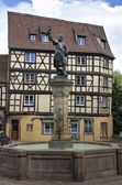 Fountain with a bronze statue of Lazare de Schwendi. Colmar, France — Stock Photo