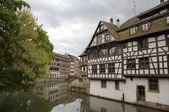 "Timber framing houses of district ""la Petite France"". Strasbourg, France — Stock Photo"