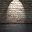 Stock Photo: Brick wall and concrete floor