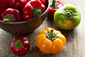 Fresh ripe red, green and yellow paprika peppers in a bowl on the kitchen table — Stock Photo