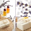 Scented soap and lavender oil in the bathroom in the Provence style. Spa collage — Stock Photo
