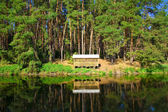 Beautiful countryside wooden house on the lake in a pine forest. Place of rest and fishing — Stock Photo