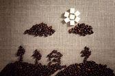Bild som målas med kaffebönor — Stockfoto
