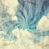 Textured vintage cloudy sky background. Sky with old paper texture — Stock Photo