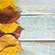 Stock Photo: Autumn leaves on shabby vintage wood