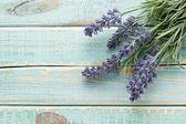 Flores sobre fundo de madeira vintage — Foto Stock