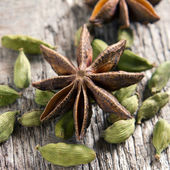Spices. Anise stars, cardamom — Stock Photo