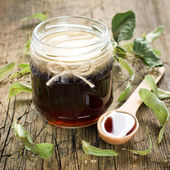 Honey in jar — Stock Photo